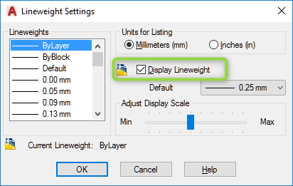 autocad lineweight display 2
