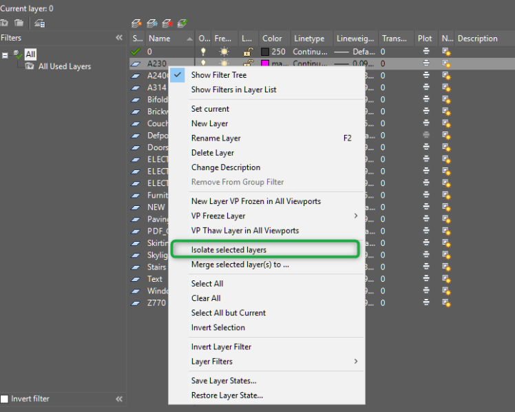 Isolate layer in AutoCAD