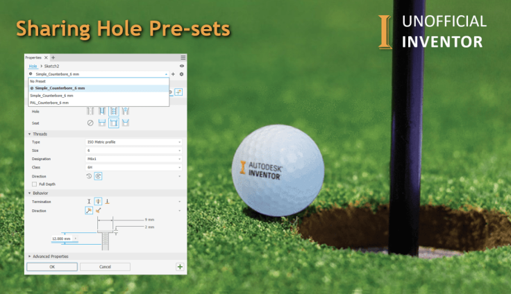 @ClintBrown3D Autodesk Inventor share hole presets