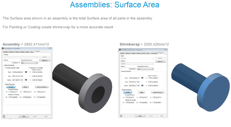 @ClintBrown3D Autodesk Inventor Assembly Surface area ilogic